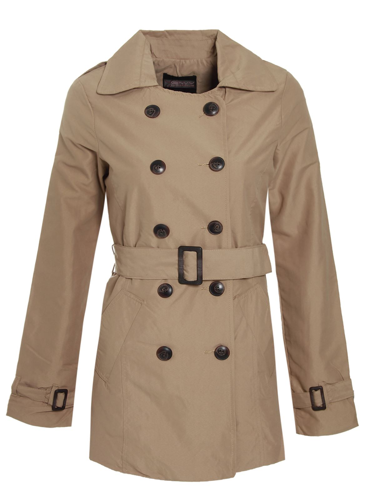 Ladies-Womens-Trench-Mac-Jacket-Double-Breasted-Buckle-Belted-Coat