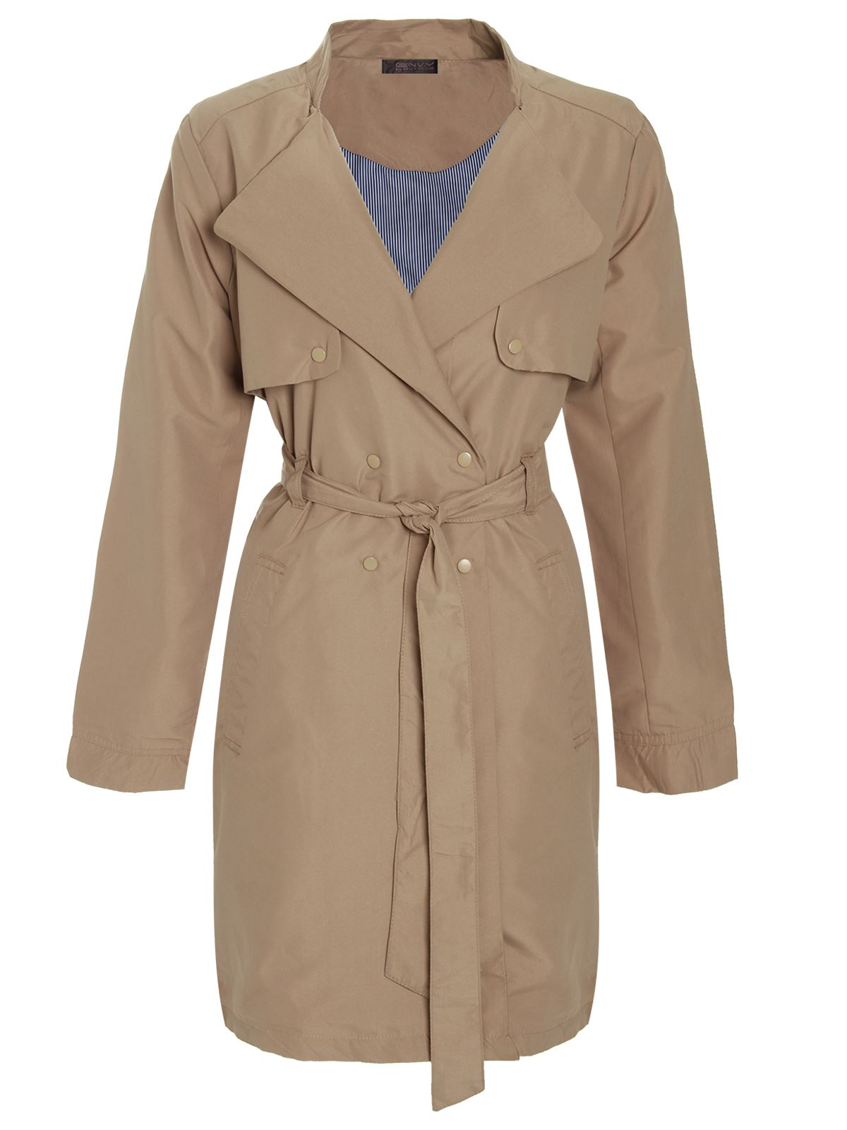 Womens-Ladies-Double-Breasted-Mac-Jacket-Microfibre-Trench-Tie-Belted-Coat
