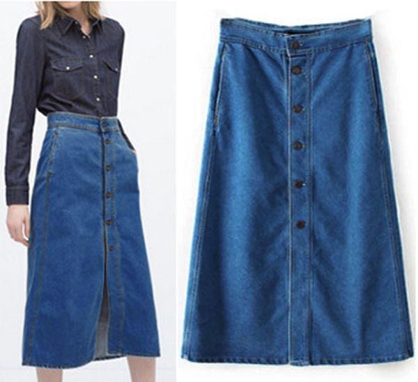 Womens Ladies Long Denim Skirt A Line Jeans