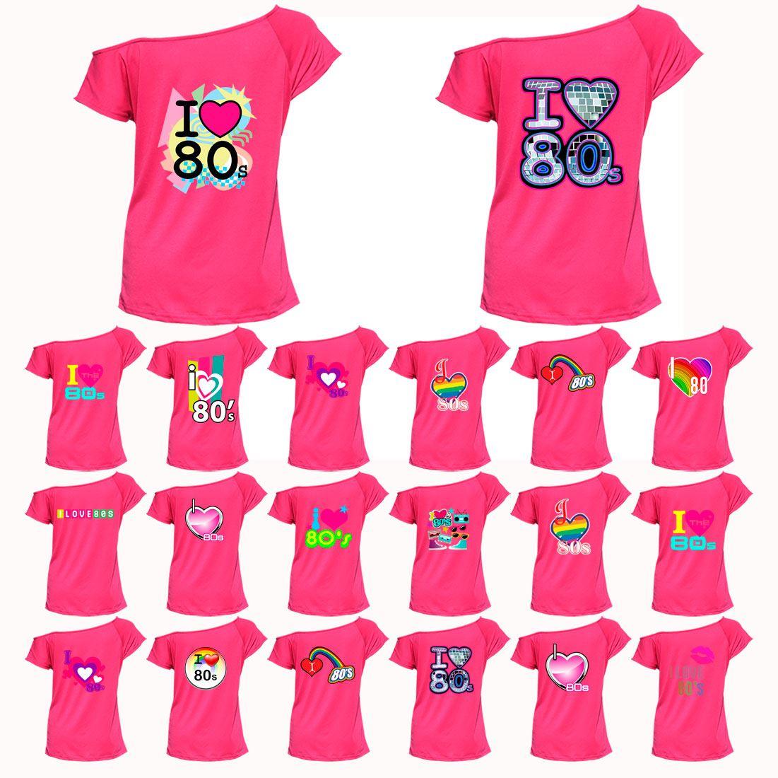 e2a0d6eebbd700 Ladies I Love 80s Top T-shirt Pop Star Retro Fancy Dress Party Womens Tees  ®Lot
