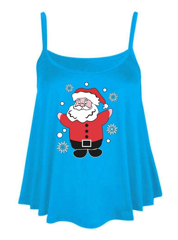 Merry-Santa-Claus-Print-Cami-Swing-Vest-Womens-Ladies-Flared-Top-Fancy-Dress-Lot