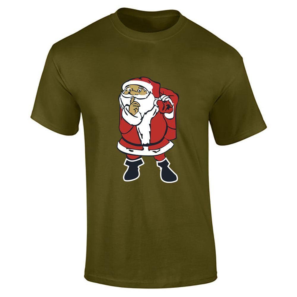 Santa-Claus-Imprime-T-Shirt-Garcons-Homme-Joyeux-Noel-a-Manches-Courtes-Top-Tee-Lot miniature 9