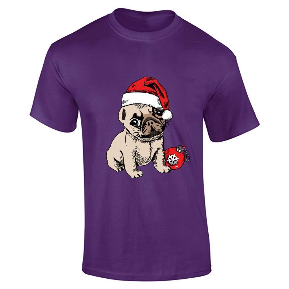 Santa pug puppy hat print t shirt boys short sleeve mens for T shirt and hat printing