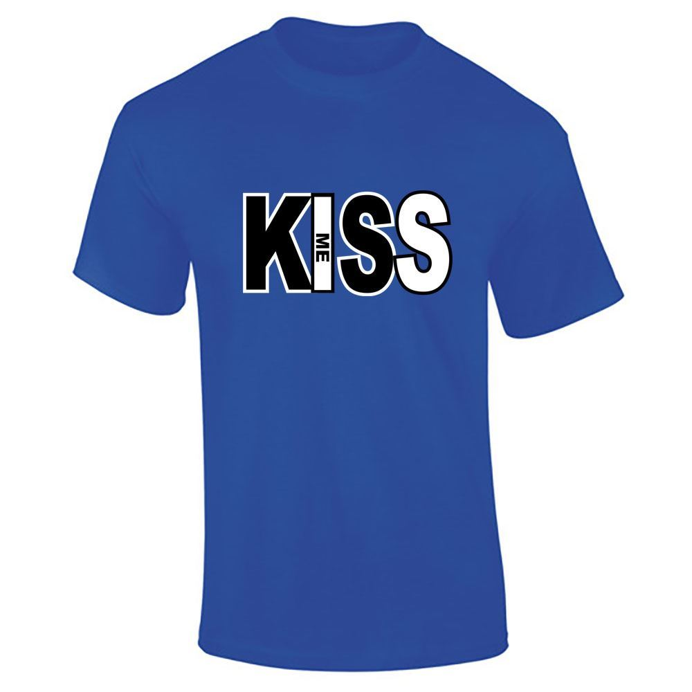 Kiss me text top mens boys t shirt half sleeve tee shirt for Best full sleeve t shirts