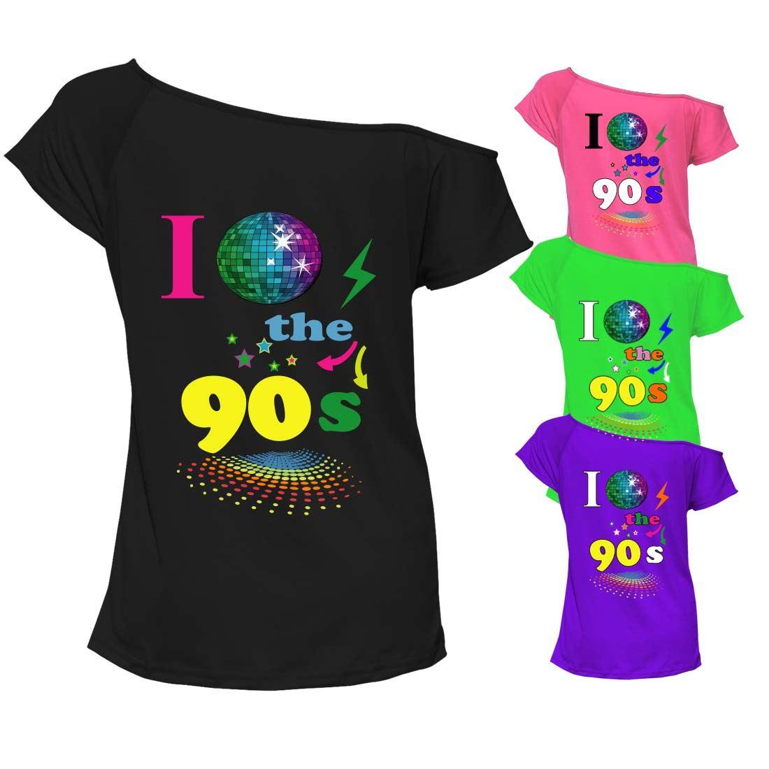 "Vintage /""I Love the 80/'s/"" Costume Retro T Shirt 1980s Off-Shoulder"