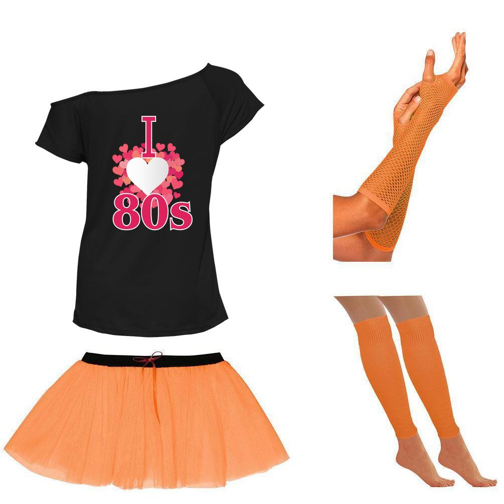 Ladies Off Shoulder Back To The Eighties TShirt Tutu Skirt Set Accessories 6450