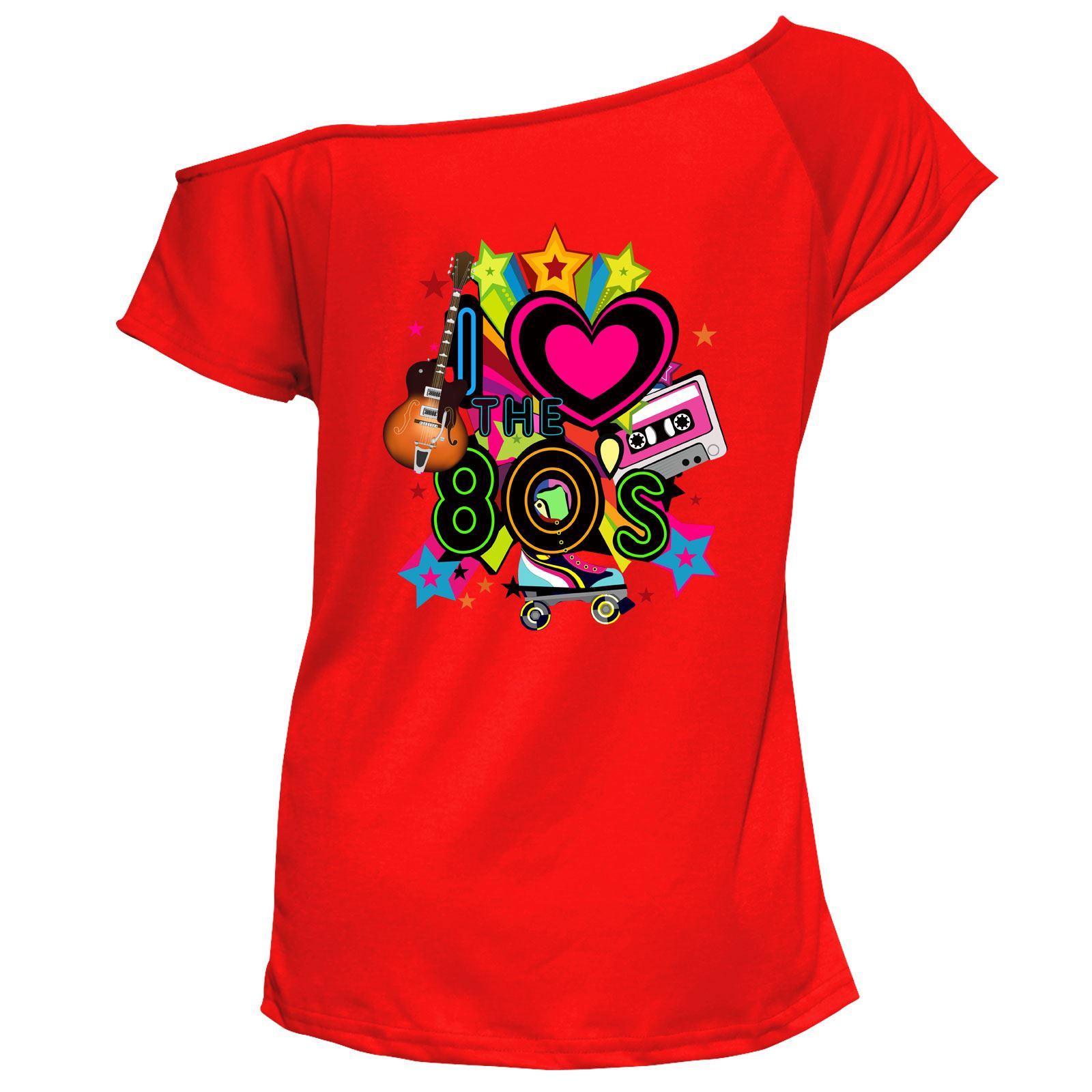 Senoras-me-encanta-el-80s-T-shirt-top-del-hombro-Gallina-Fiesta-Retro-Lote-de-6021758