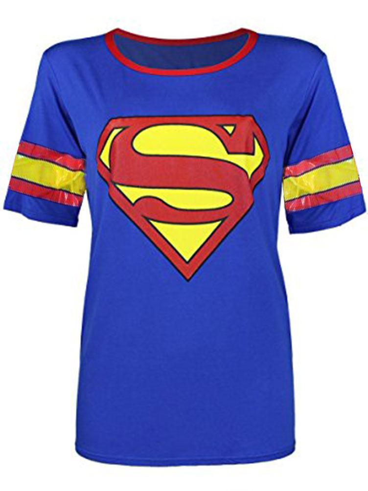 Womens ladies superman logo design printed t shirt short for Gym printed t shirts