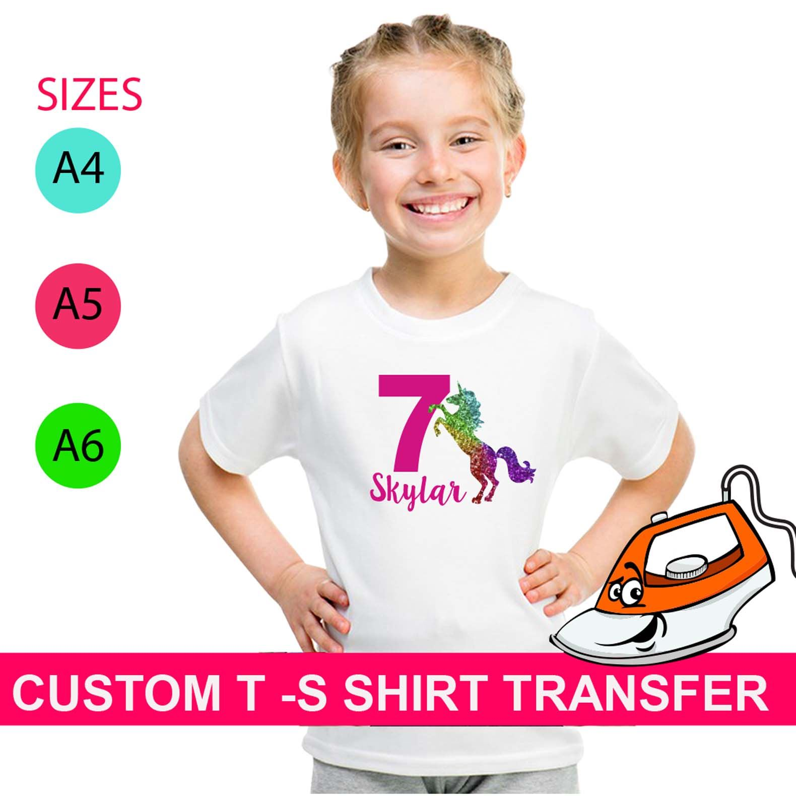 PERSONALISED BIRTHDAY NUMBER AGE IRON ON T SHIRT FABRIC HEAT