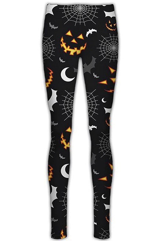 Pantaloni-Donna-Halloween-Teschio-Spaventoso-pipistrelli-ragnatele-amp-Zucca-stampato-Leggings