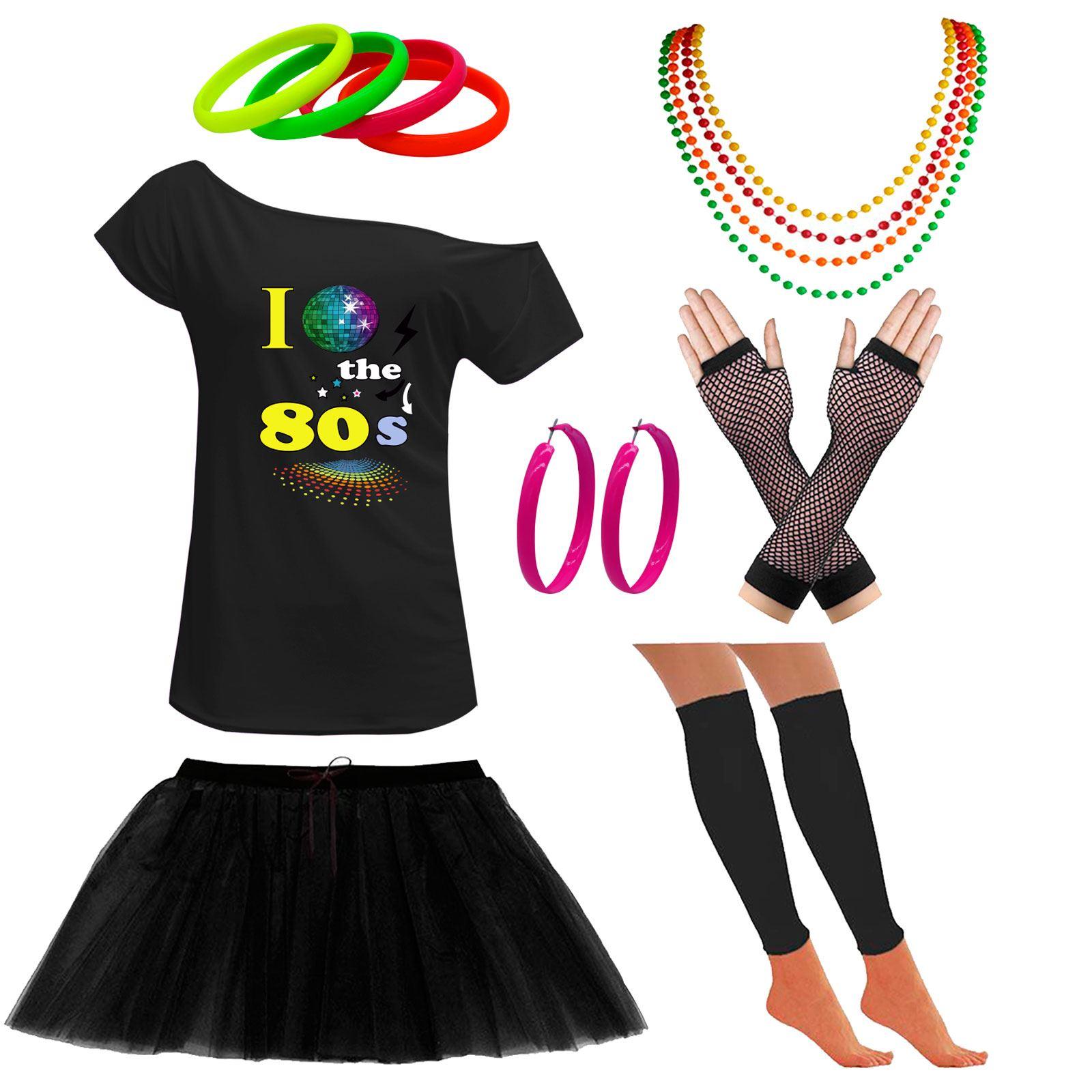 Ladies Off Shoulder I Love 80s T Shirt Disco Ball Set Party