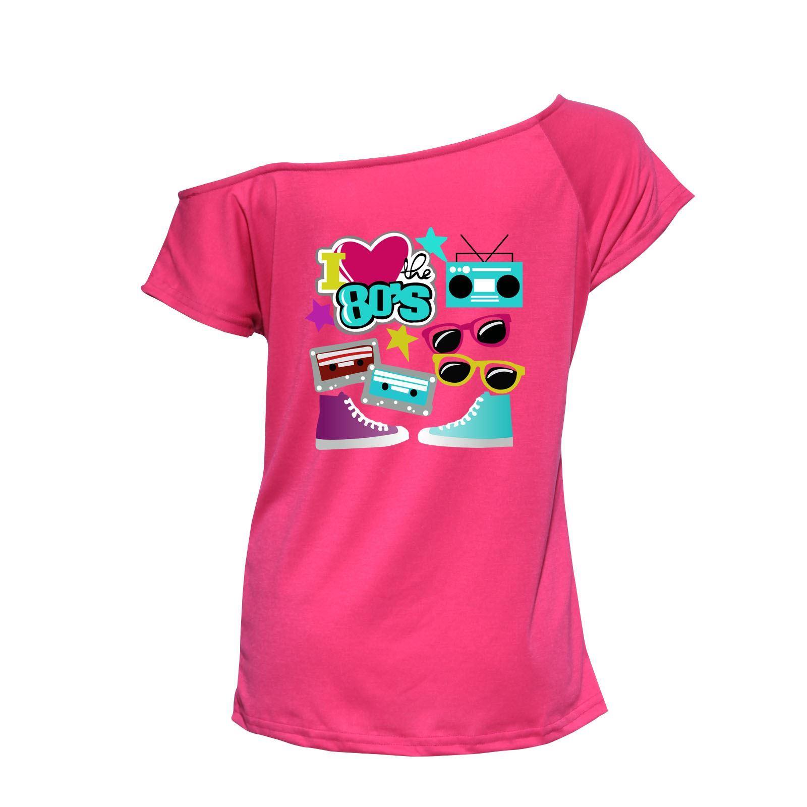 Vestido-Casual-el-80s-Top-senoras-me-Love-Fiesta-Elegante-Wear-Discoteca-Camiseta-6021754