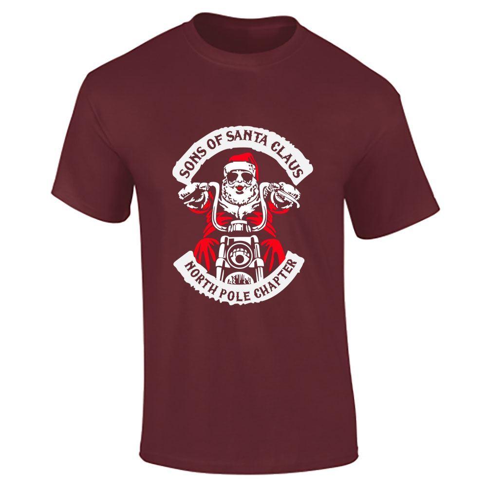 sons of santa claus print tshirt mens funny biker decembeard boys christmas lot ebay. Black Bedroom Furniture Sets. Home Design Ideas