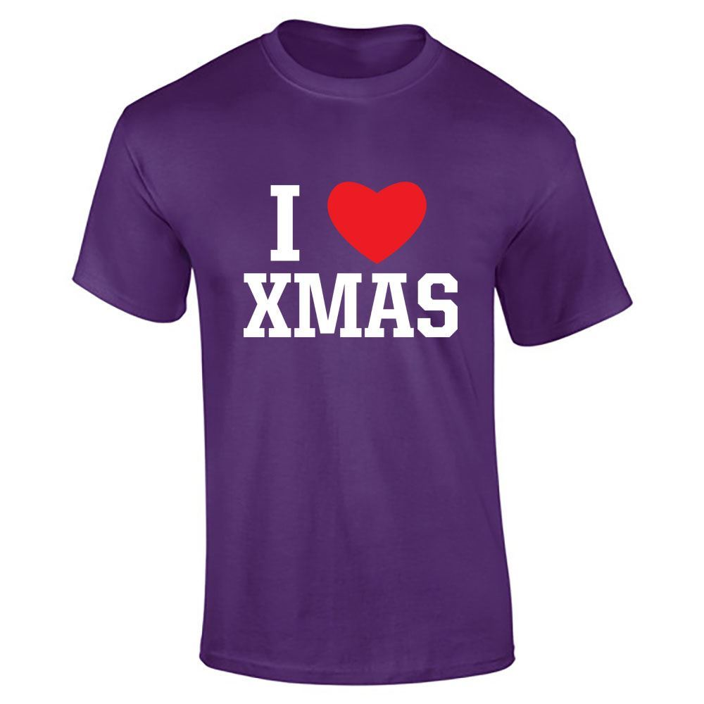 Hommes-T-Shirt-I-Love-Noel-Top miniature 6