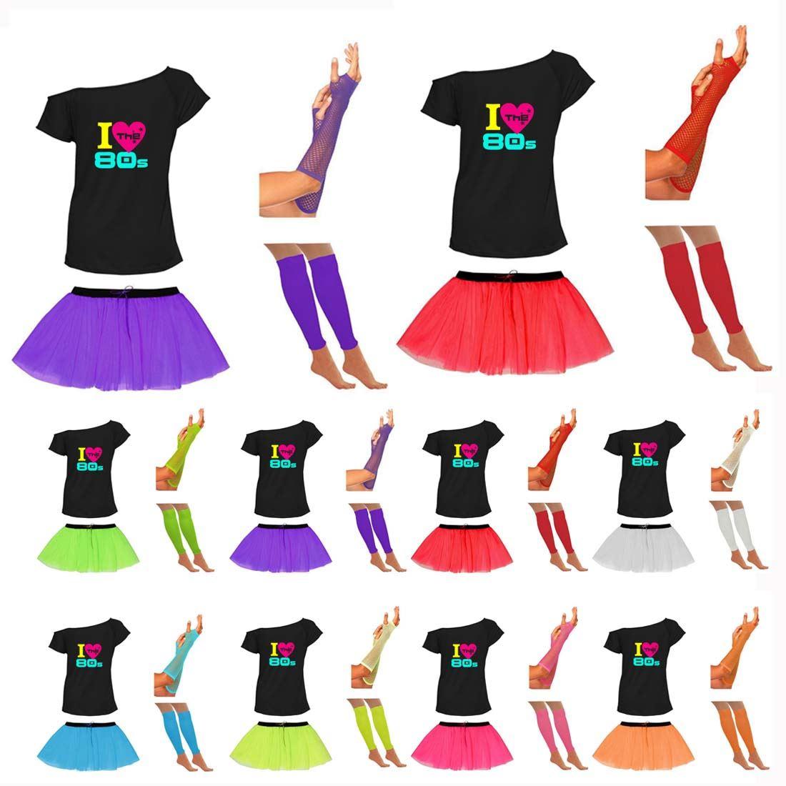 Womens I Love 80s Tutu Skirt Off Shoulder T Shirt Gloves Legwarmer Madonna Set