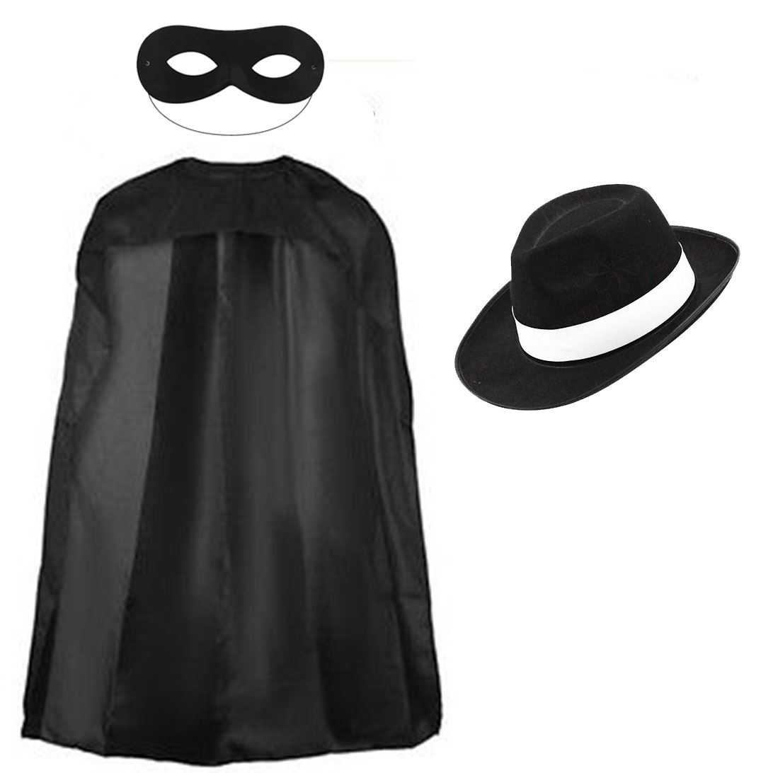 Zorro Fancy Dress Mask Cape Hat Black Spanish Mexican
