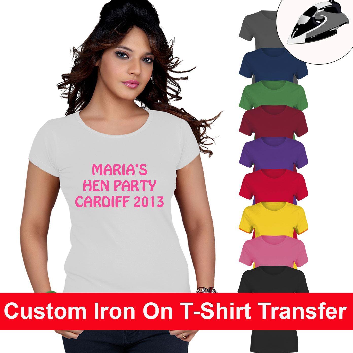 Personalised Mod Iron On T Shirt Transfer Custom Light//White Fabrics Hen Party