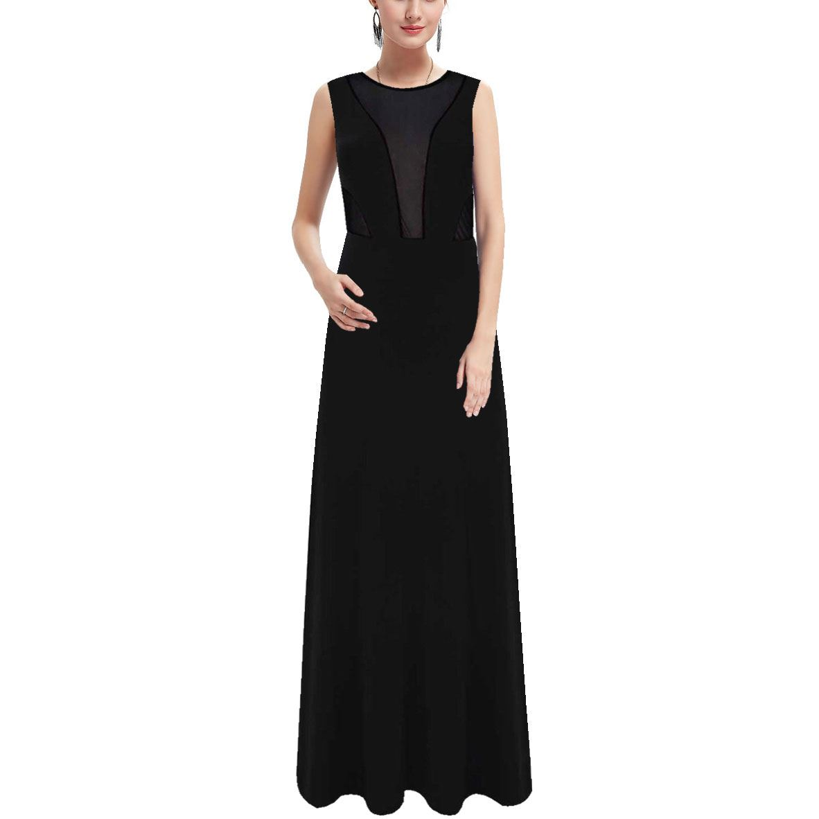 Womens-Ladies-Sheer-Mesh-Insert-Grecian-Long-Maxi-Drape-Prom-Fancy-Dress-Party