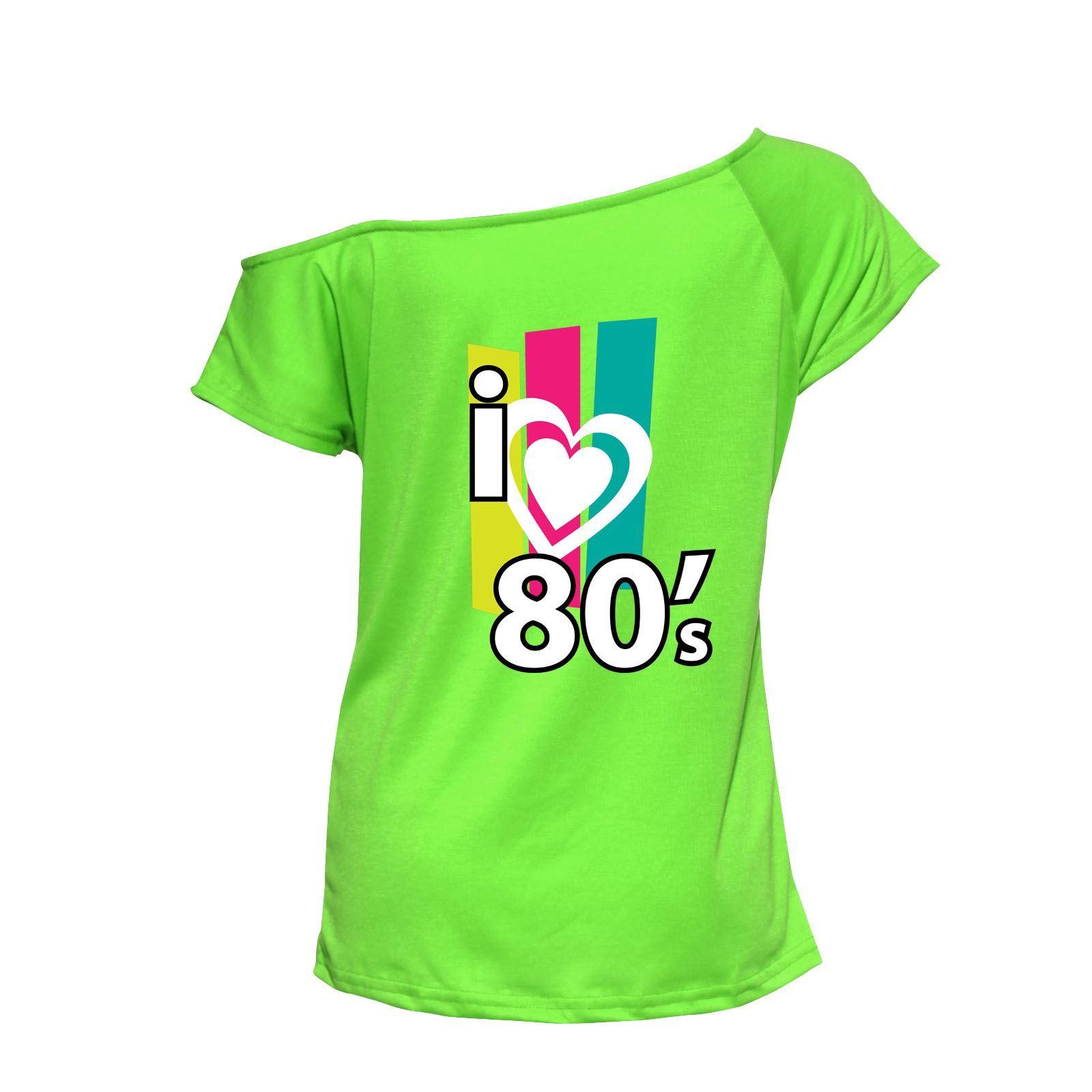 Me-encanta-la-musica-80s-Top-senoras-gallina-Fiesta-Festival-Traje-Camiseta-6021741