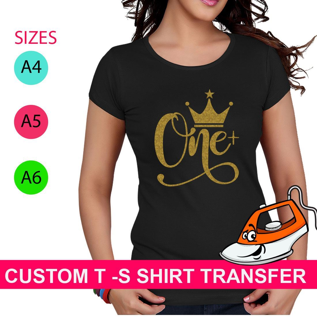 Design Crown One Print T Shirt Iron On Fabric Heat Transfer Hen Party Top Crew