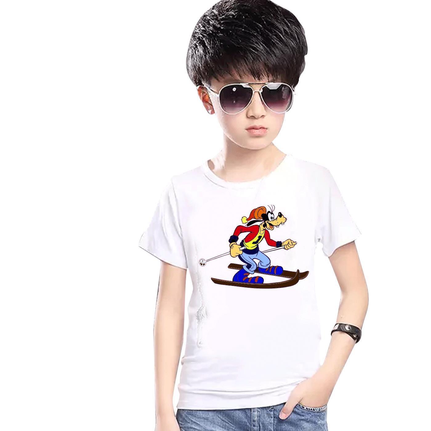 Pippo Pattinaggio Printed T-shirt Bambini Ragazzi Ragazze Tee Top Bambini Festa Estiva 5339- Eccellente Nell'Effetto Cuscino