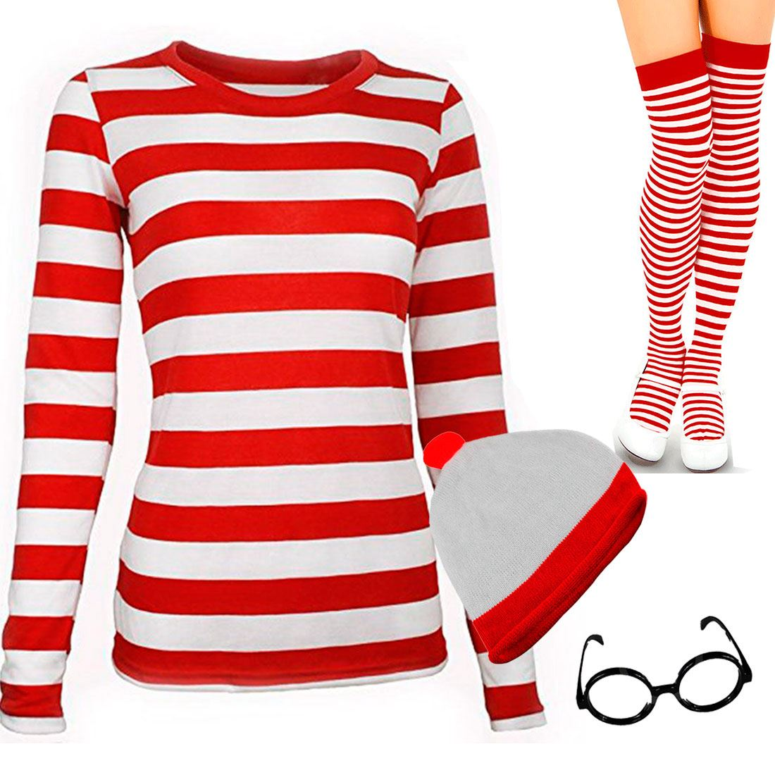 Red-And-White-T-Shirt-Striped-Hat-Socks-Glasses-Set-TShirt-Ladies-World-Book-Day thumbnail 3