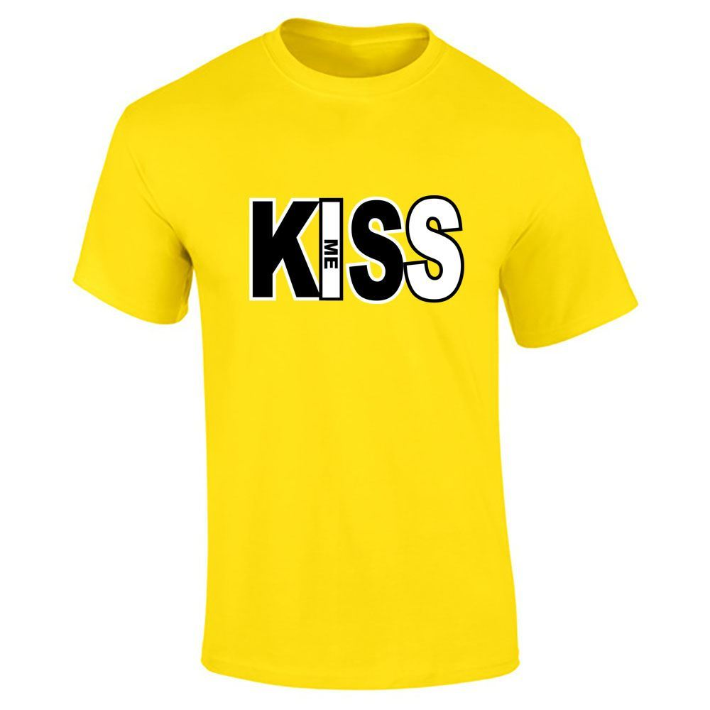 Kiss me text top mens boys t shirt half sleeve tee gym for Best full sleeve t shirts
