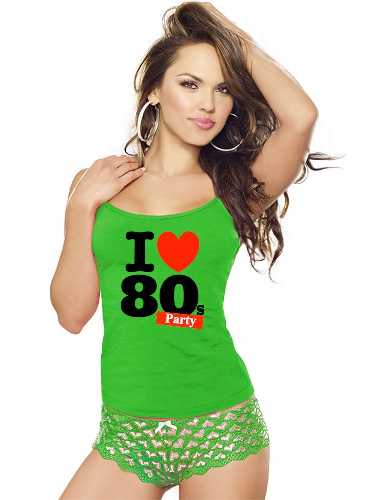 I Love 80s Party Lycra Vest Top For Ladies Stretch Sports Gym Wear Lot 6021722®