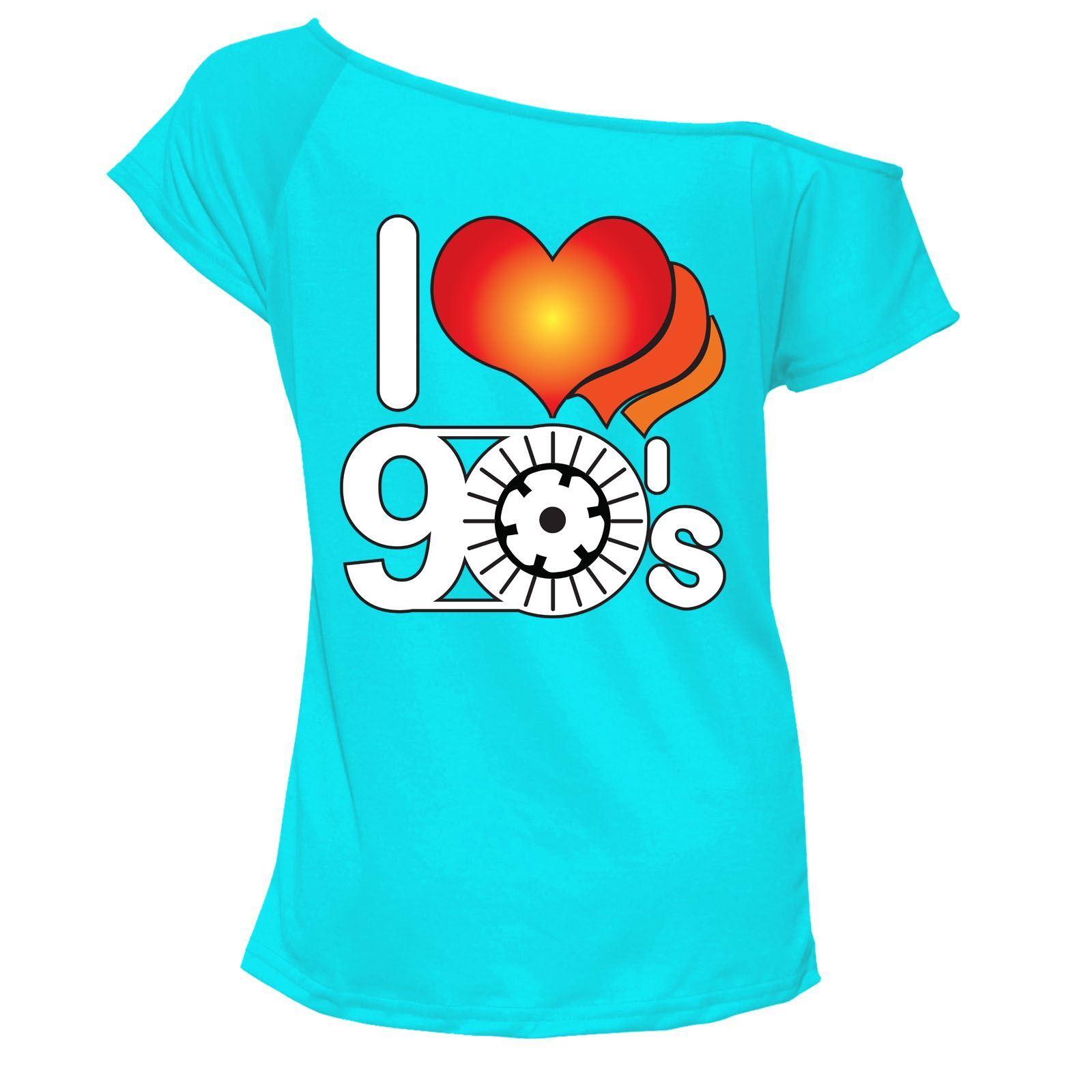 Me-encanta-el-90s-T-Shirt-Top-Hombro-Pop-Retro-Gallina-Fiesta-Discoteca-Outfit-6709-Lote