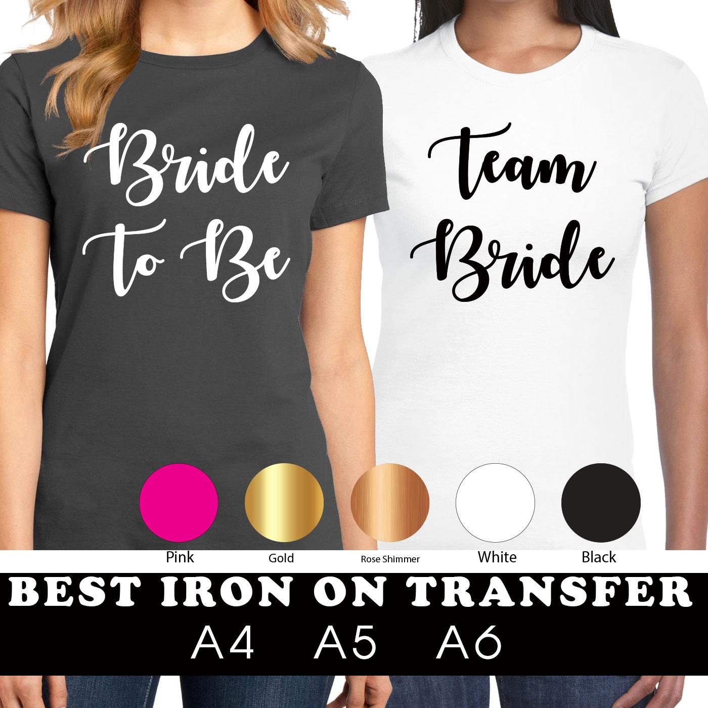 HEN NIGHT PARTY T SHIRT IRON ON TRANSFERS TEAM BRIDE RING ALL COLOURS A5 BRIDE