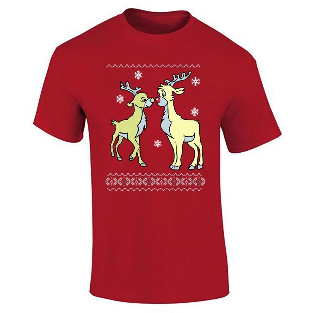 Merry-Christmas-Boys-Girls-Print-TShirt-Womens-Mens-Reindeer-Top-Casual-Wear-Lot