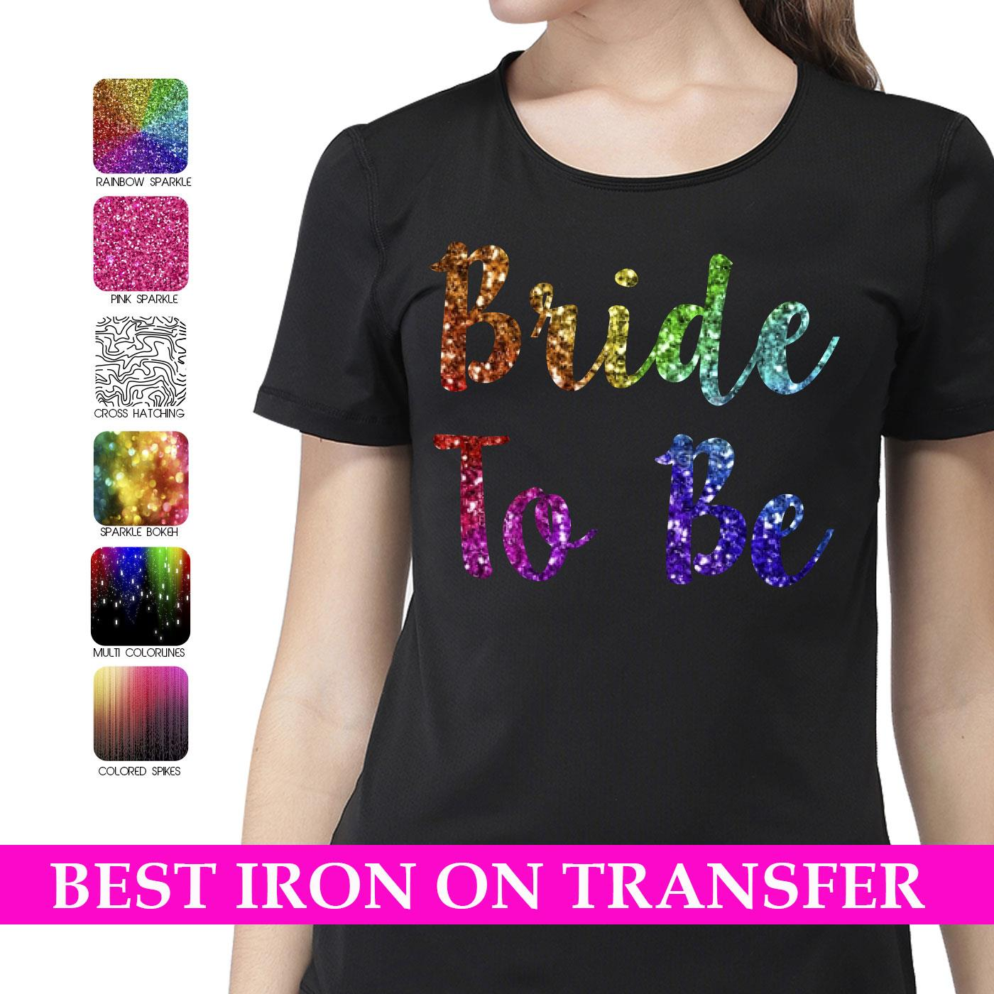PERSONALISED IRON ON T SHIRT TRANSFER SPARKLE HEN ANY NAME//TEXT BRIDE KIDS VINYL