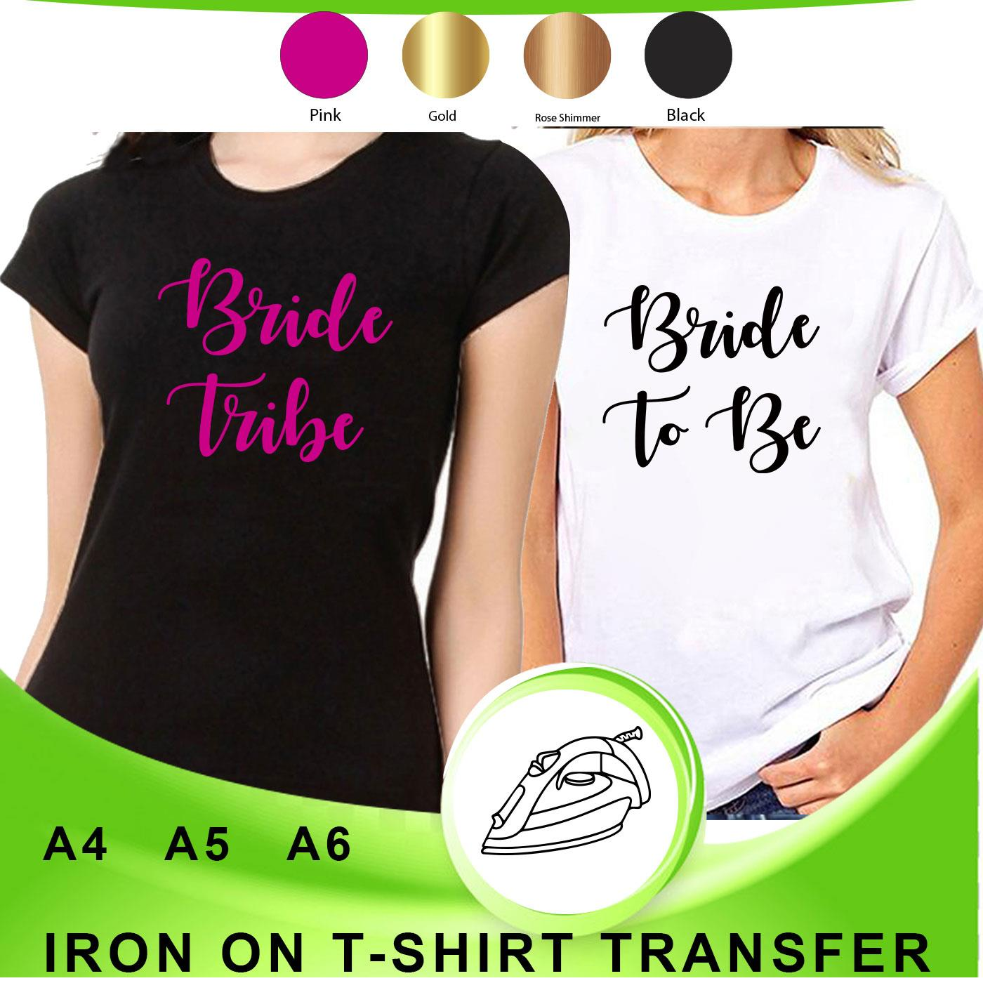 /'Bride Tribe/' Personalised Hen Do Party Iron-on T-shirt Fabric Heat Transfer