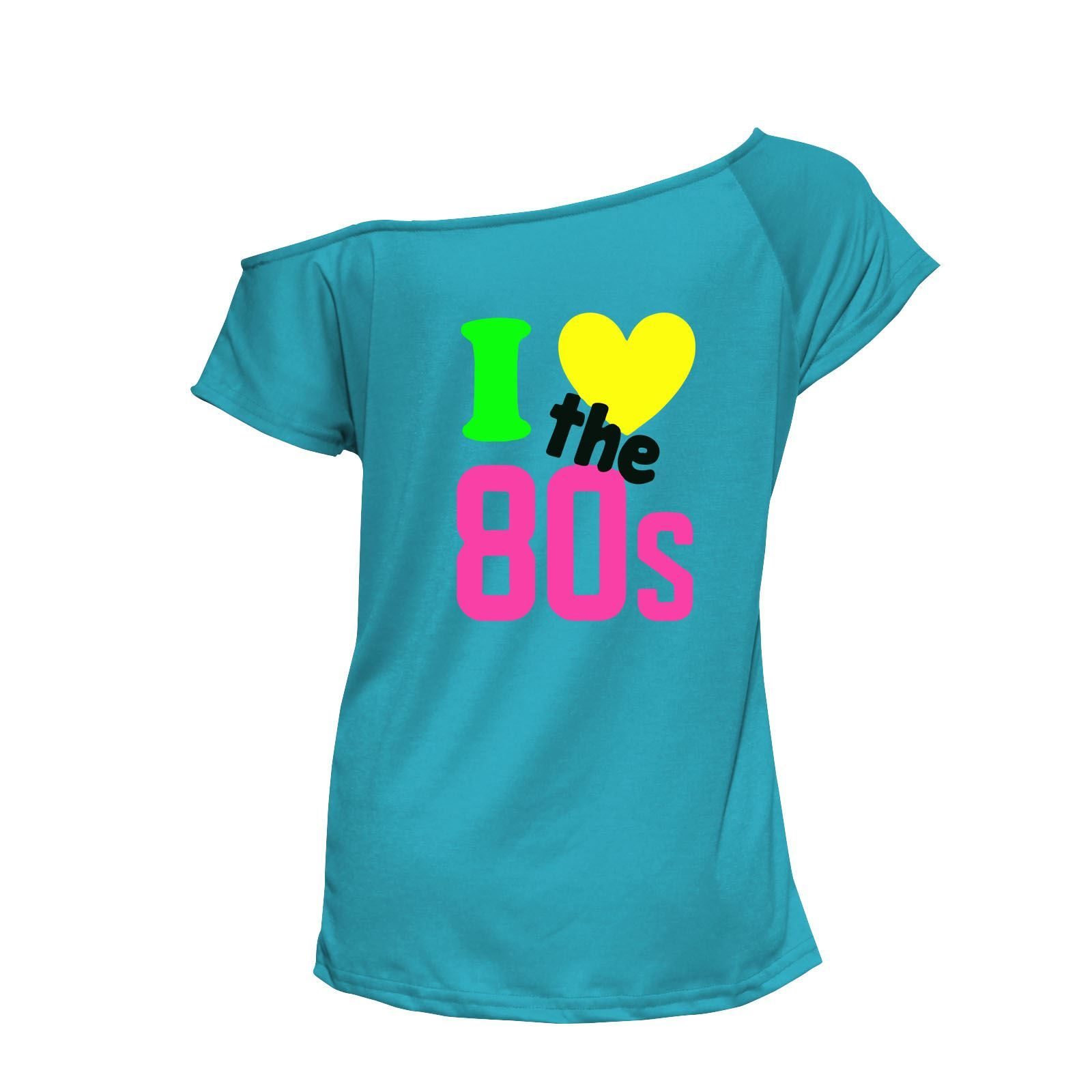 Ladies I Love The 80s T-shirt 80\'s Fancy Dress up Neon Costume Party ...