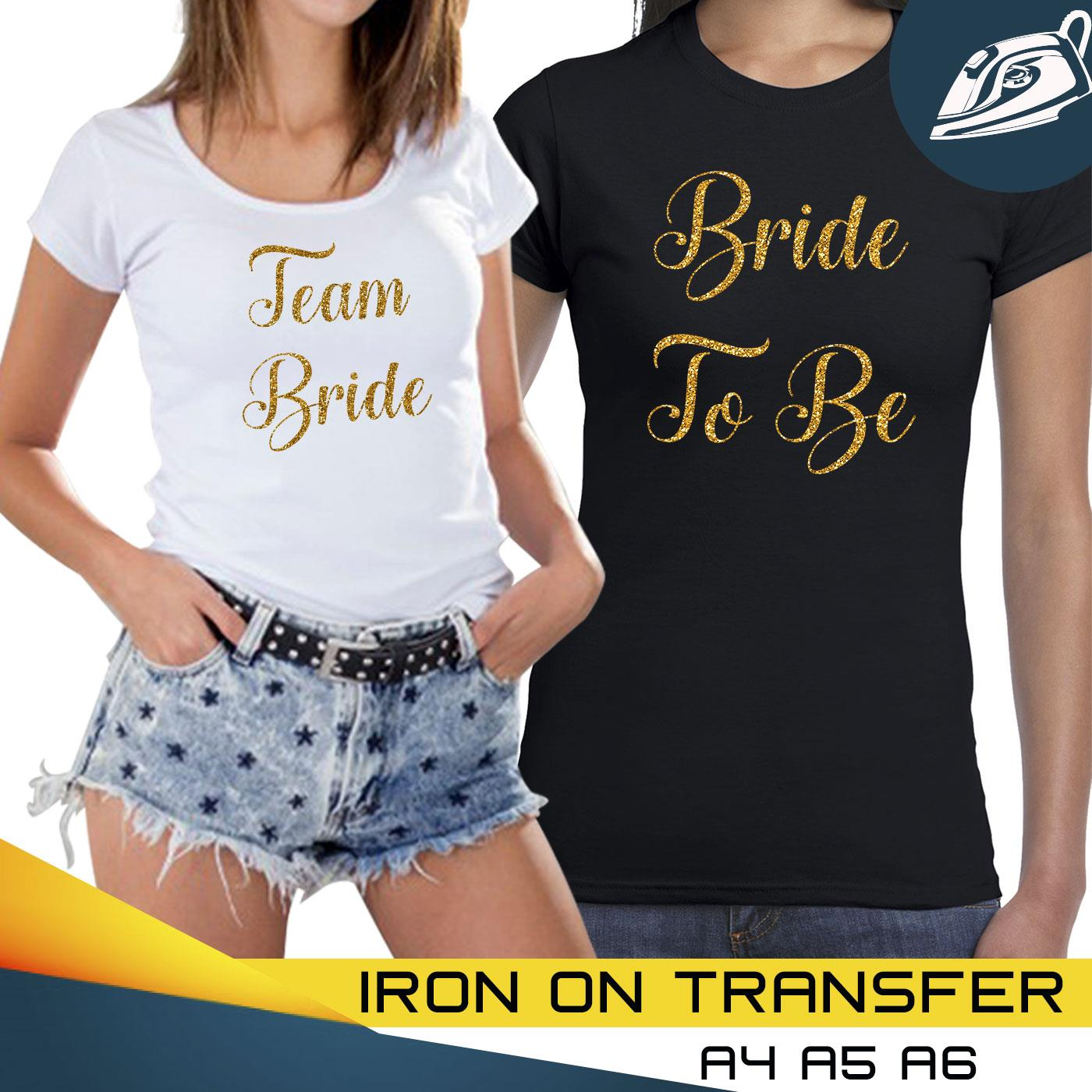 Personalize Bride To Be Hen Do Party Vinyl Iron On Transfer T Shirt Sparkle 7717