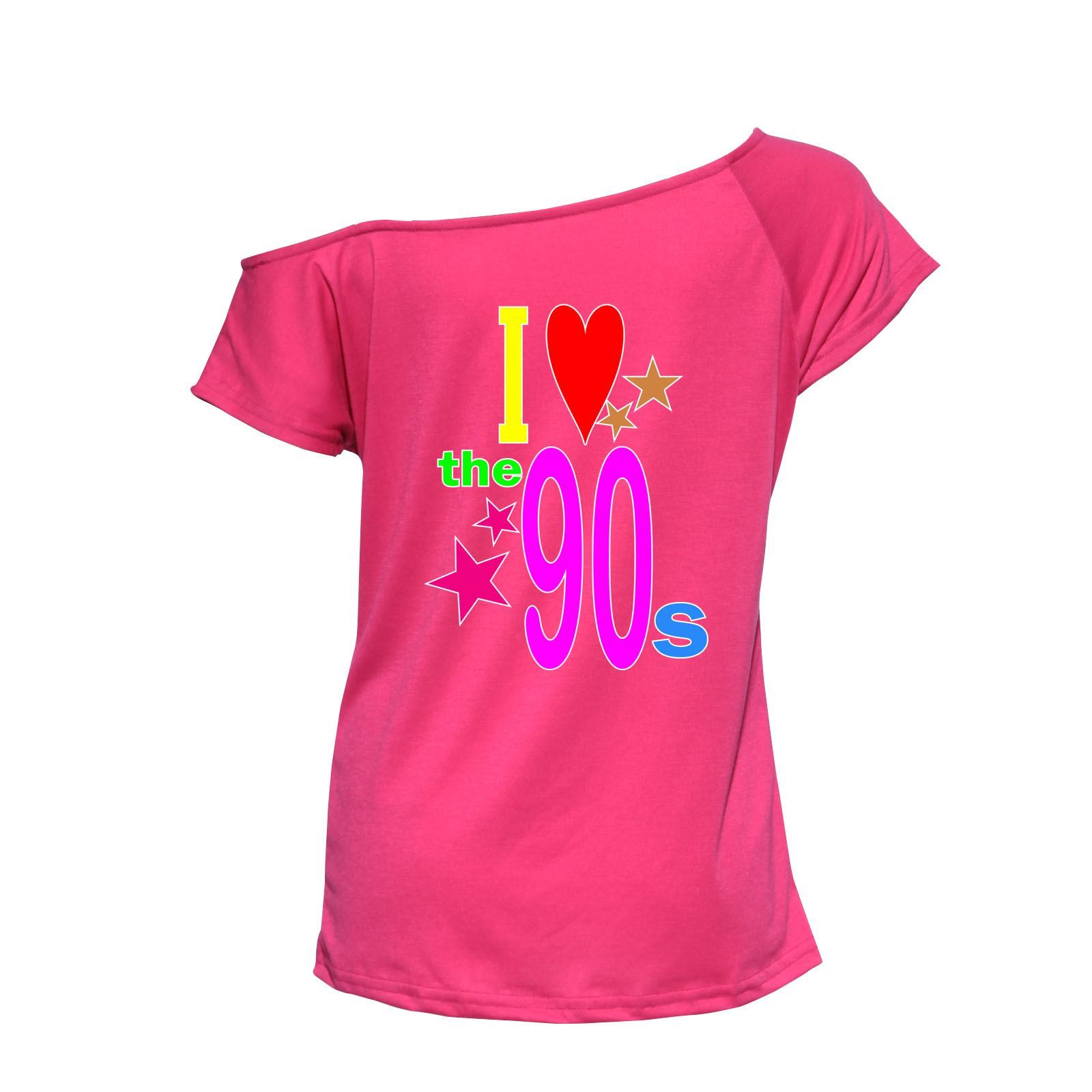 Womens I Love The 90s T-Shirt Disco Music Party Fancy Dress Ladies ...