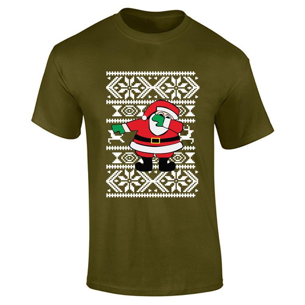Santa dabbing christmas printed t shirt mens boys short for Boys printed t shirts
