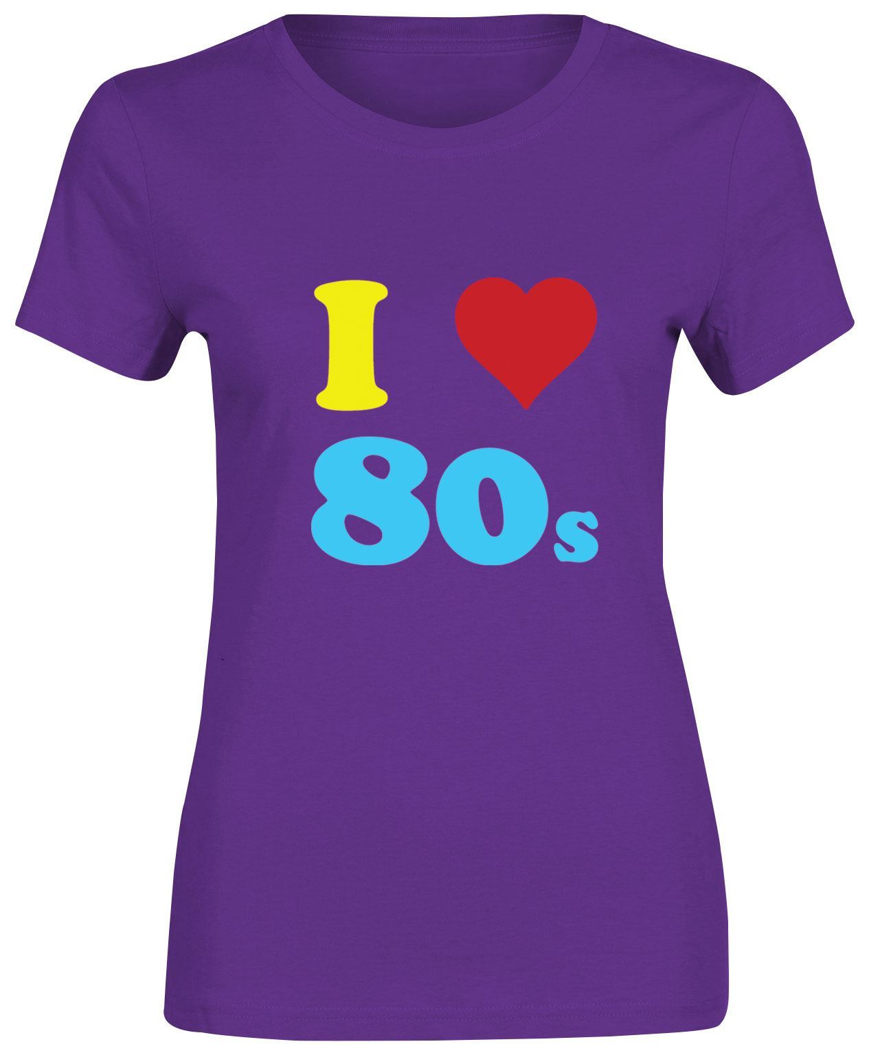 Multi Color I Love 80s Girls Short Sleeve T Shirt Womens Party Fancy ...