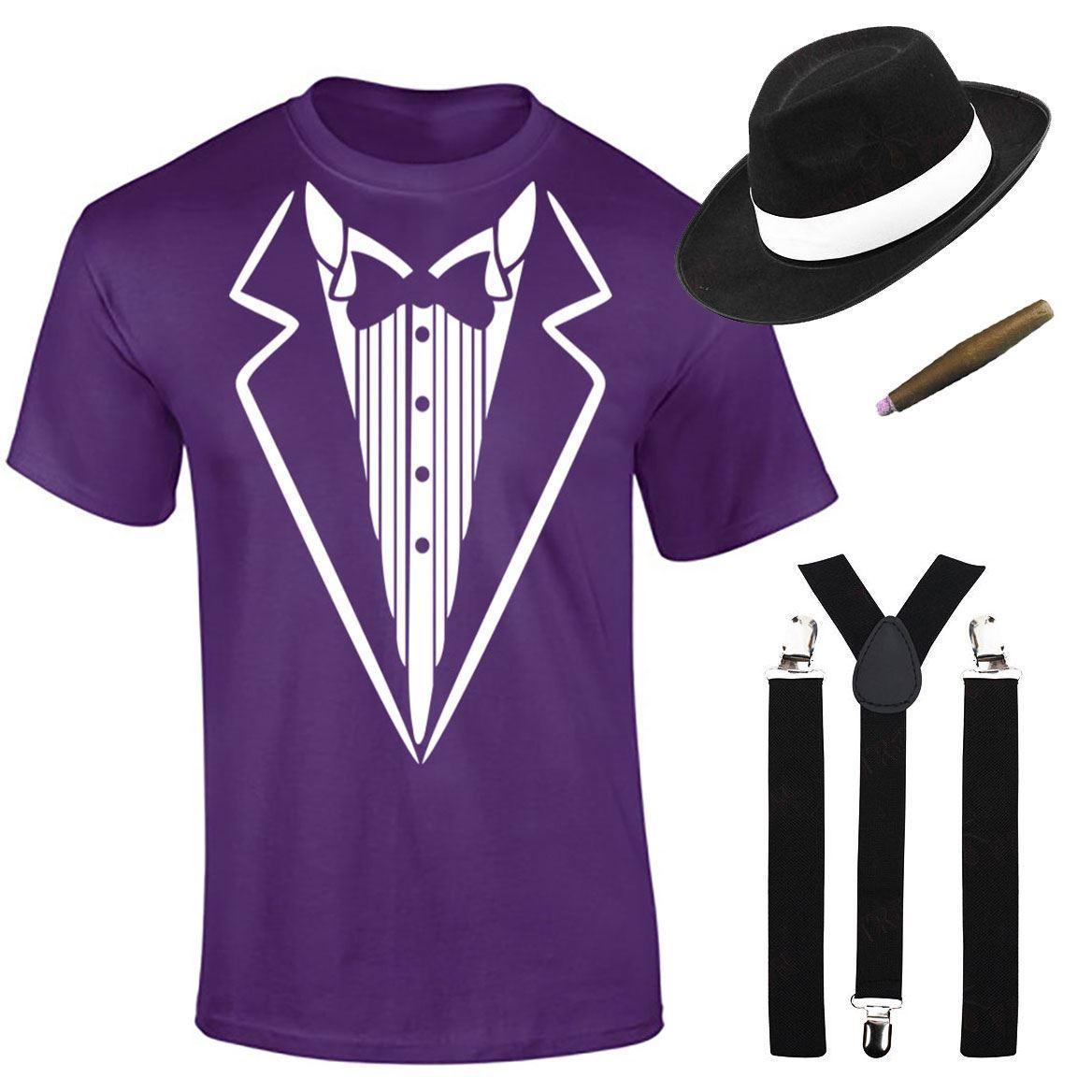 Mens Boys Gangster Printed T Shirt Braces Hat Cigar Set Theme Party ...