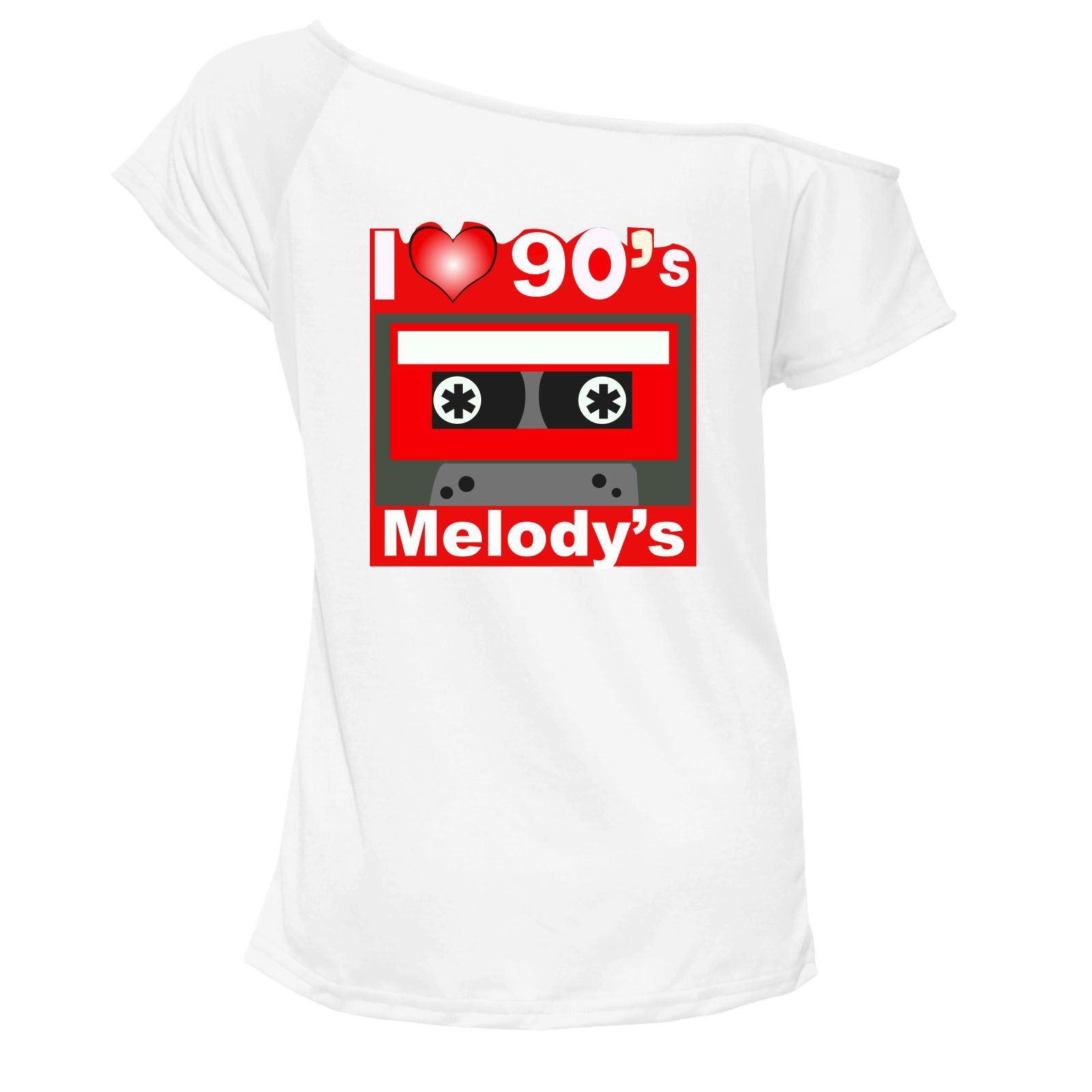 Senoras-me-encanta-la-parte-superior-90s-Camiseta-Hombro-Retro-Fiesta-De-Disfraces-Traje-6733-Lote
