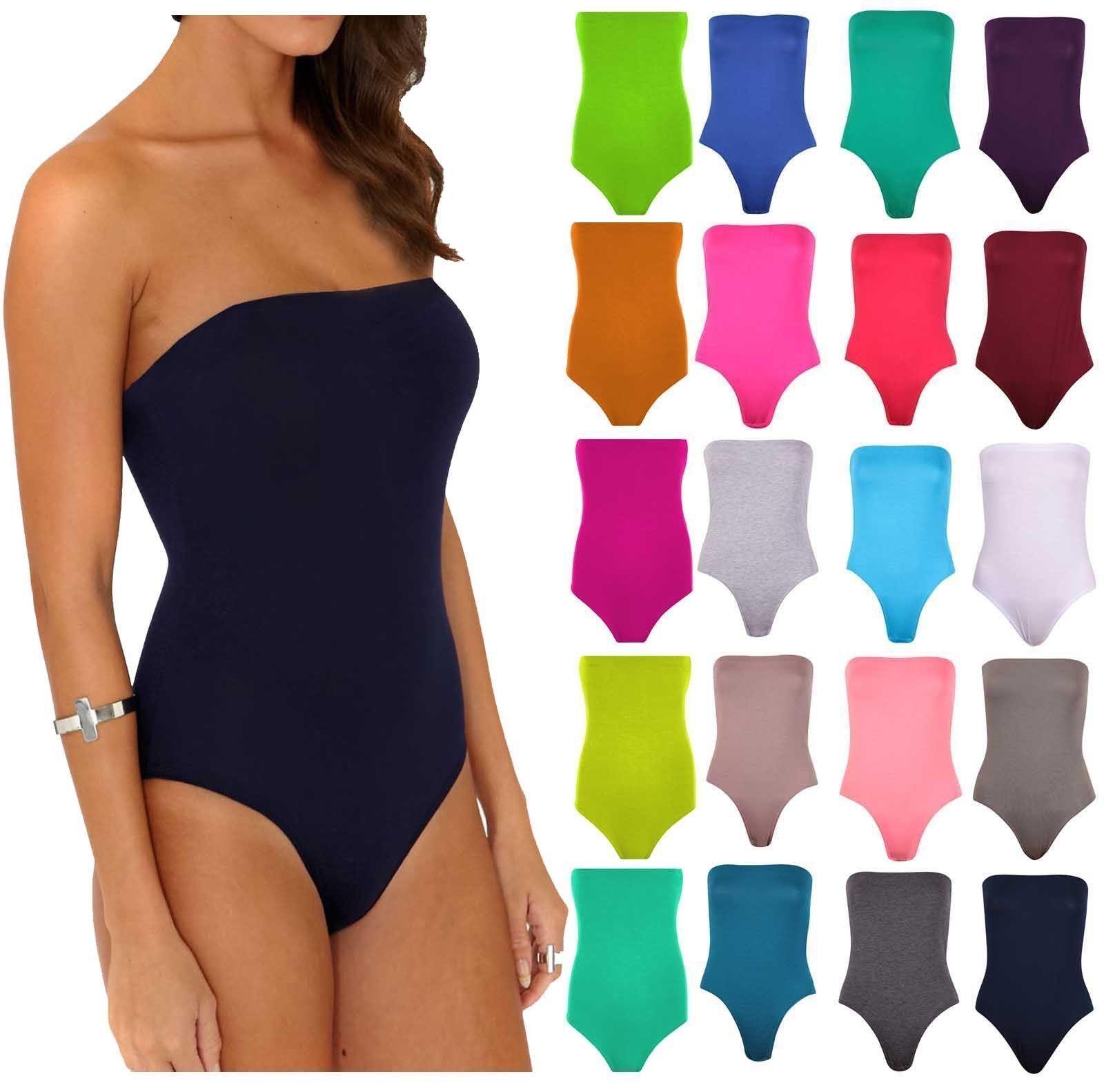 Details about Women's Ladies Sleeveless Boob Tube Plain Bandeau Bodysuit Leotard Top Plus Size