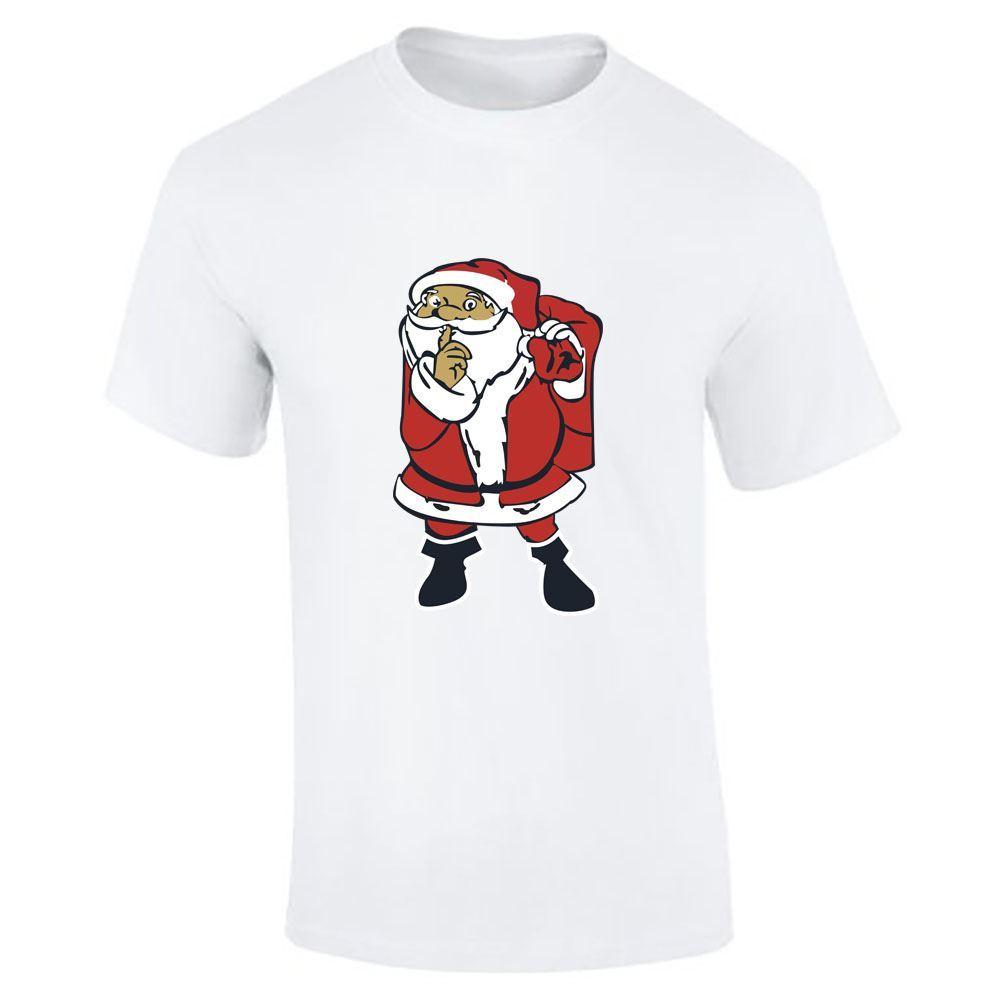 Santa-Claus-Imprime-T-Shirt-Garcons-Homme-Joyeux-Noel-a-Manches-Courtes-Top-Tee-Lot miniature 7