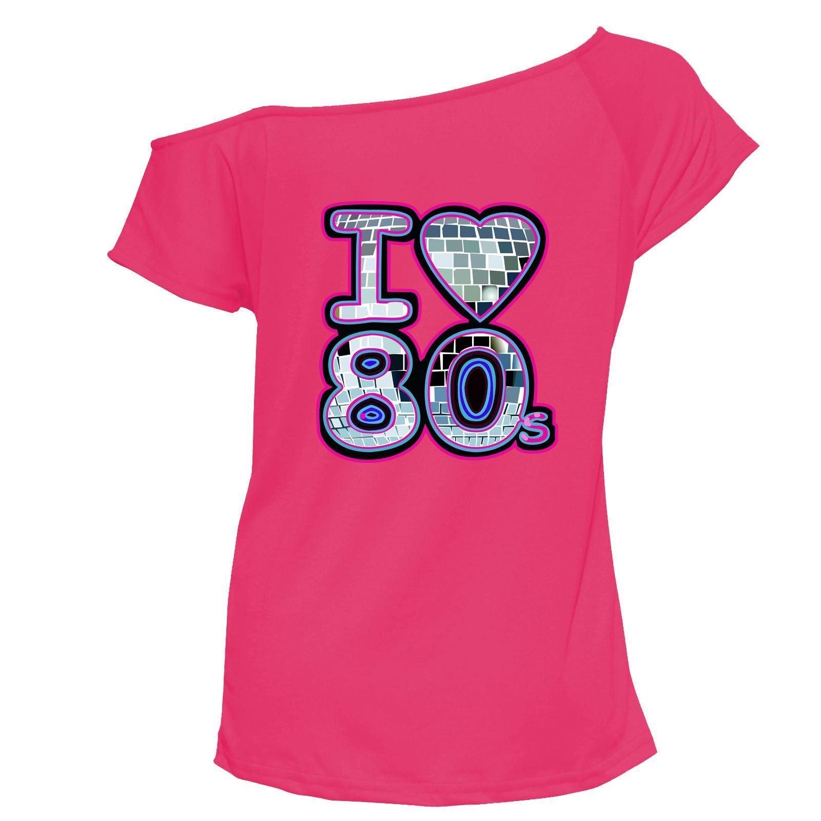 Senoras-vestido-elegante-I-Love-80s-Festival-decada-de-1980-Musica-Pop-Fiesta-Top-Camiseta