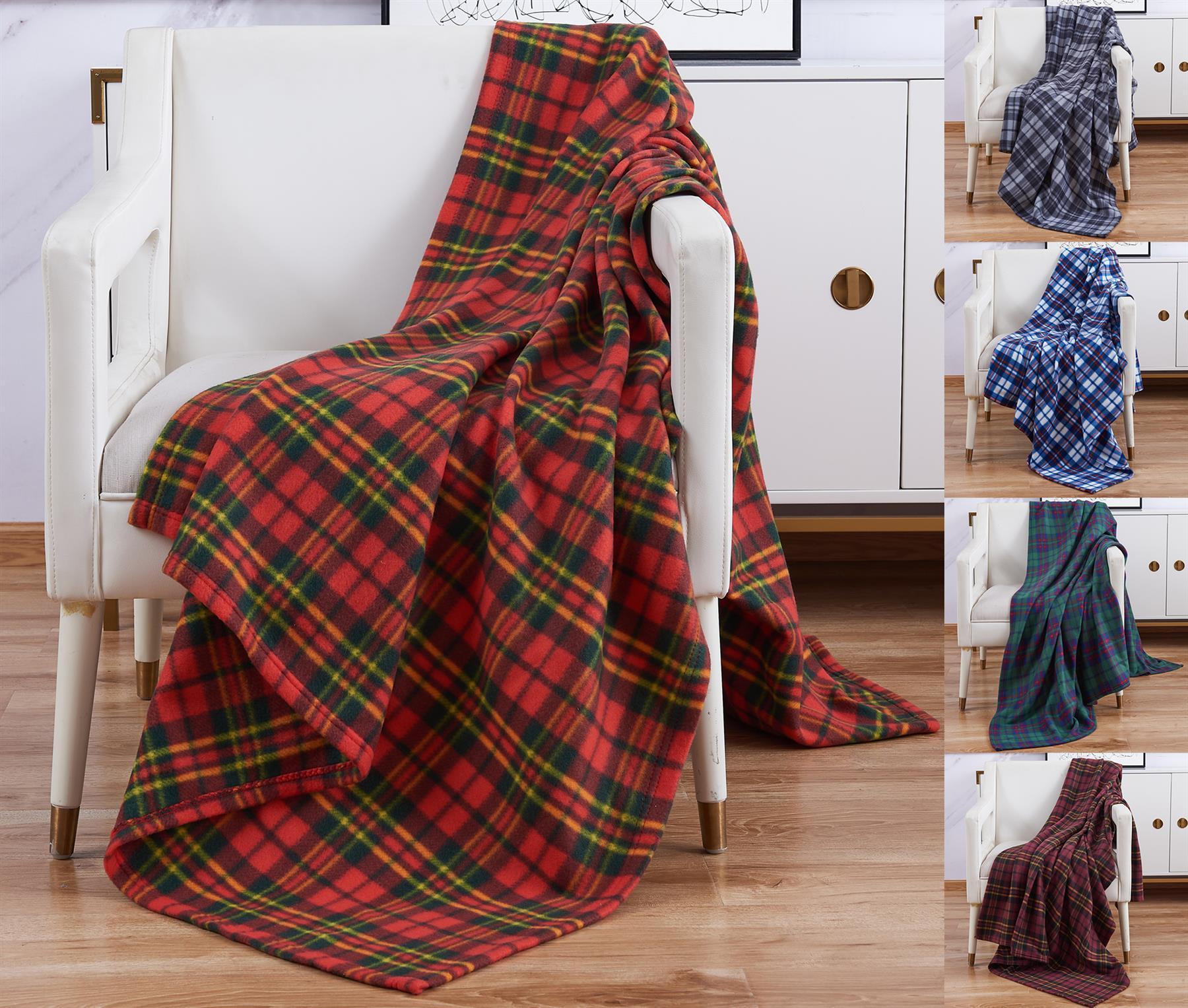Soft Flannel Fleece Sofa Bed Blanket Throw Checked Design Large Warm 150 x 200CM