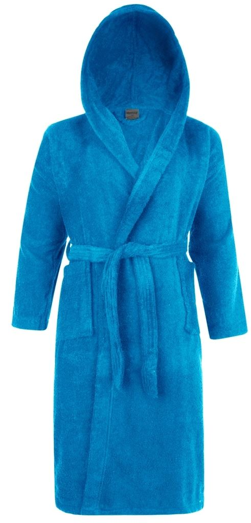 100% Cotton Terry Towelling Hooded Shawl Collar Aqua Bath Robe ...