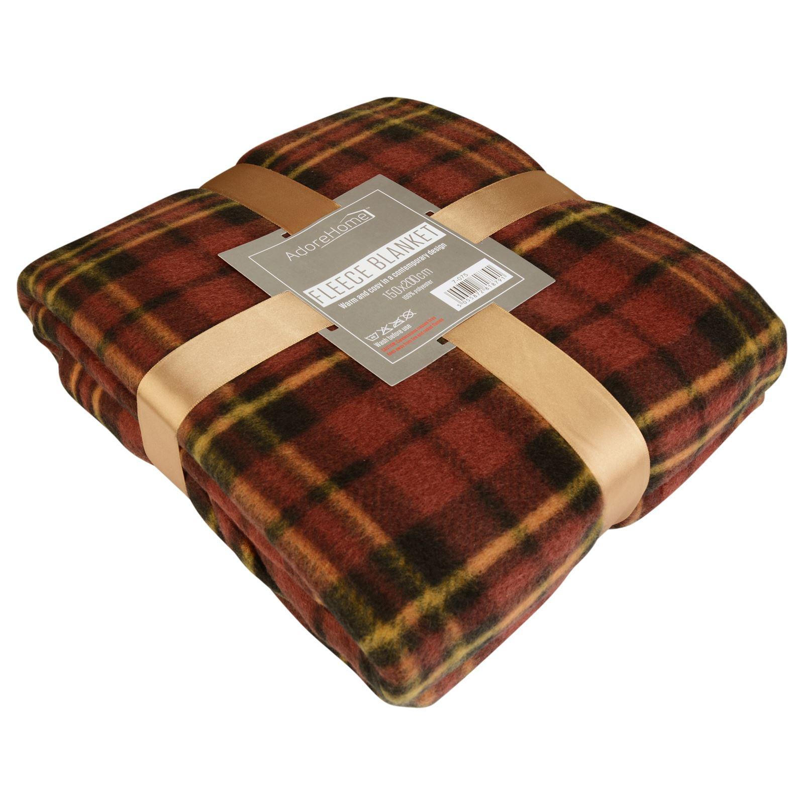 Soft Warm 150x200cm Double Tartan Check Sofa Throw Bed Fleece
