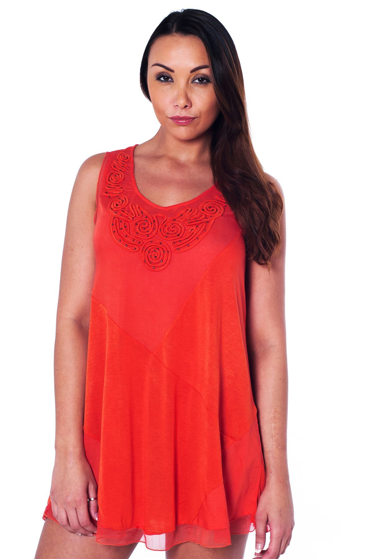 Per-Una-Orange-Summer-Top-Lightweight-Chiffon-Trim-amp-Beads-All-Sizes-Holiday