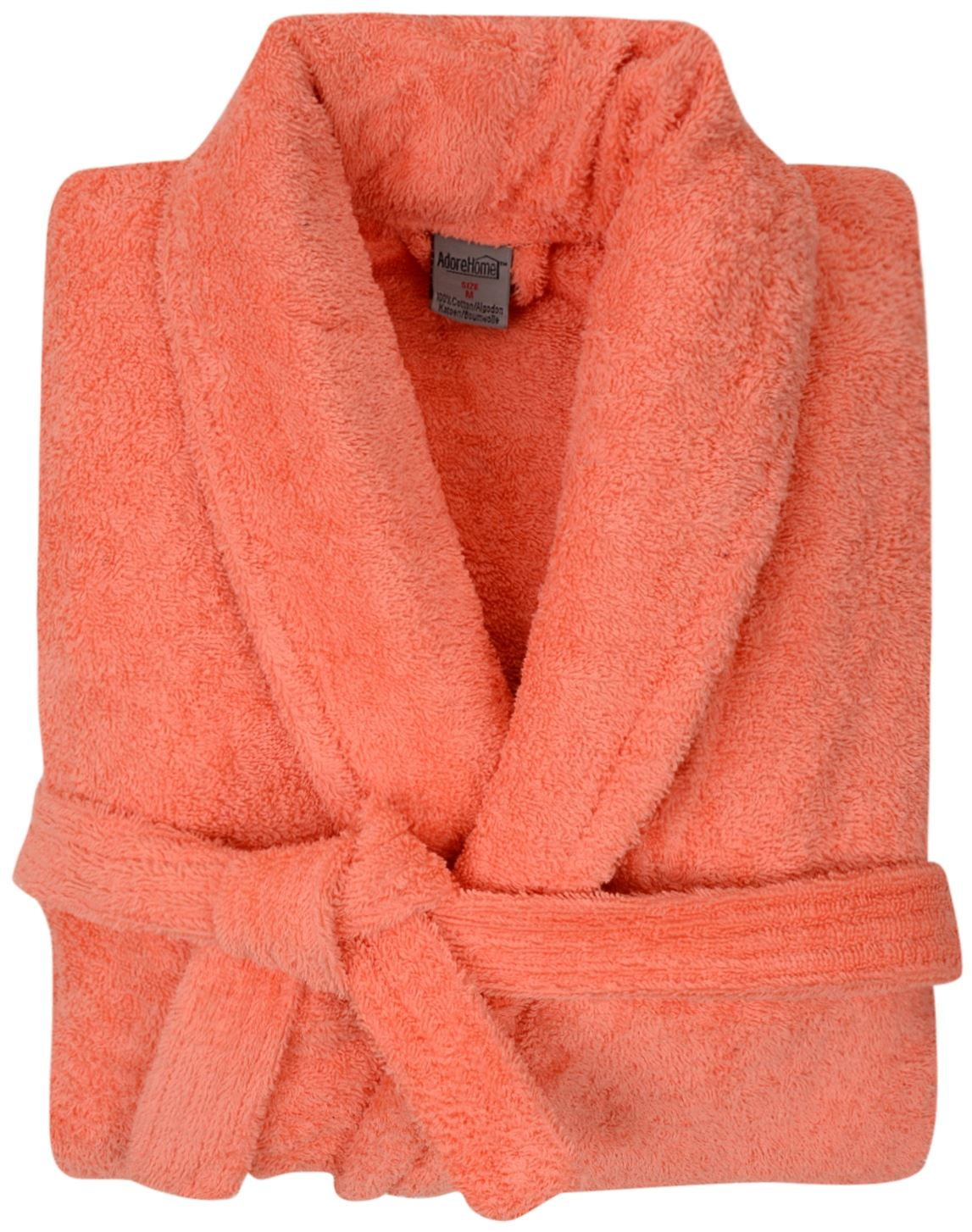 100% Cotton Terry Towelling Shawl Collar Coral Bath Robe Dressing ...