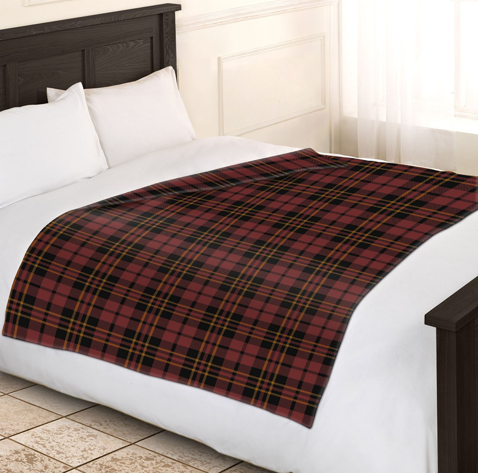 soft warm 200x240cm king size tartan check sofa throw bed fleece travel blanket. Black Bedroom Furniture Sets. Home Design Ideas
