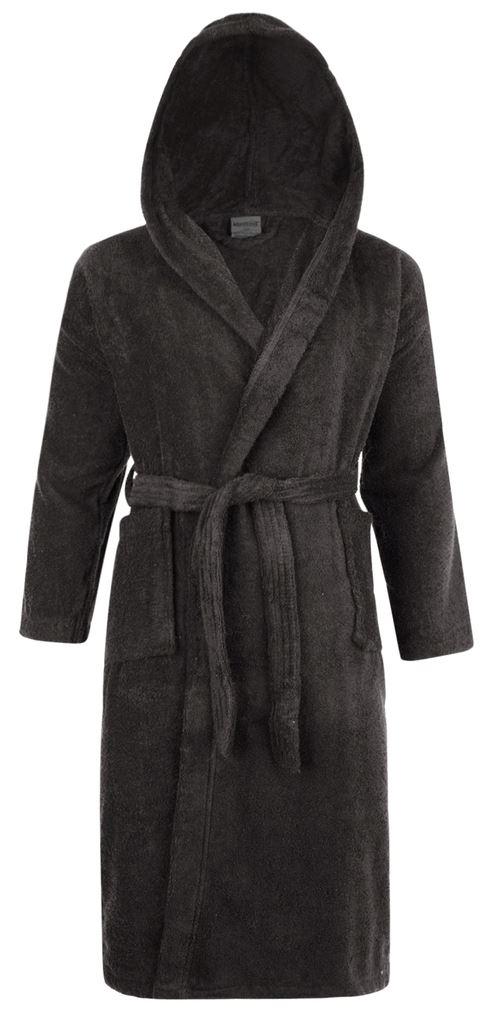 100% Cotton Terry Towelling Hooded Shawl Collar Slate Bath Robe ...